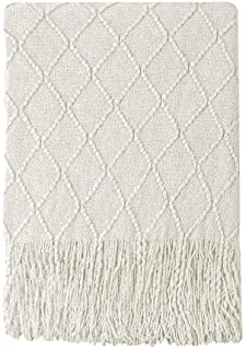 Bourina Beige Throw Blanket Textured Solid Soft Sofa Couch Cover Decorative Knitted Blanket, 50 x 60, Beige