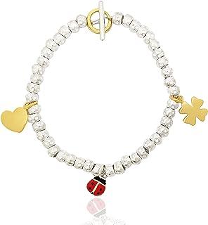 ViMon gioielli,BRACCIALE GRANELLI PEPITE MARTELLATE in ARGENTO 925,possibilità di scelta tra vari ciondoli charms.LUNGHEZZ...