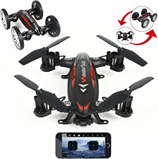 Evaxo Sky Wheeler App Control Drone and RC Car Combo Loaded with HD FPV Real time Live Video Feed Camera WiFi app Control Red & Black Remote Control Function