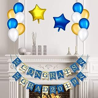 Blue Graduation Party Decoration Kit, Congrats Grad 2019 Graduation Banner and Balloons Graduation Party Suppliers and Photo Backdrop for Class of 2019 (Congrats Grad 2019)
