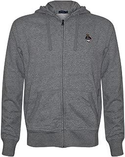 Polo Ralph Lauren Mens Limited Full Zip Bear Hoodie (Grey/Basketball, X-Large)