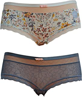 c70e9d8d0668 Ex M and S Knickers for Women Multi Pack Boy Short Cream Floral Print Grey  Lace