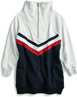 Tommy Hilfiger womens Sweatshirt Dress with Elongated Collar Zipper Casual Dress