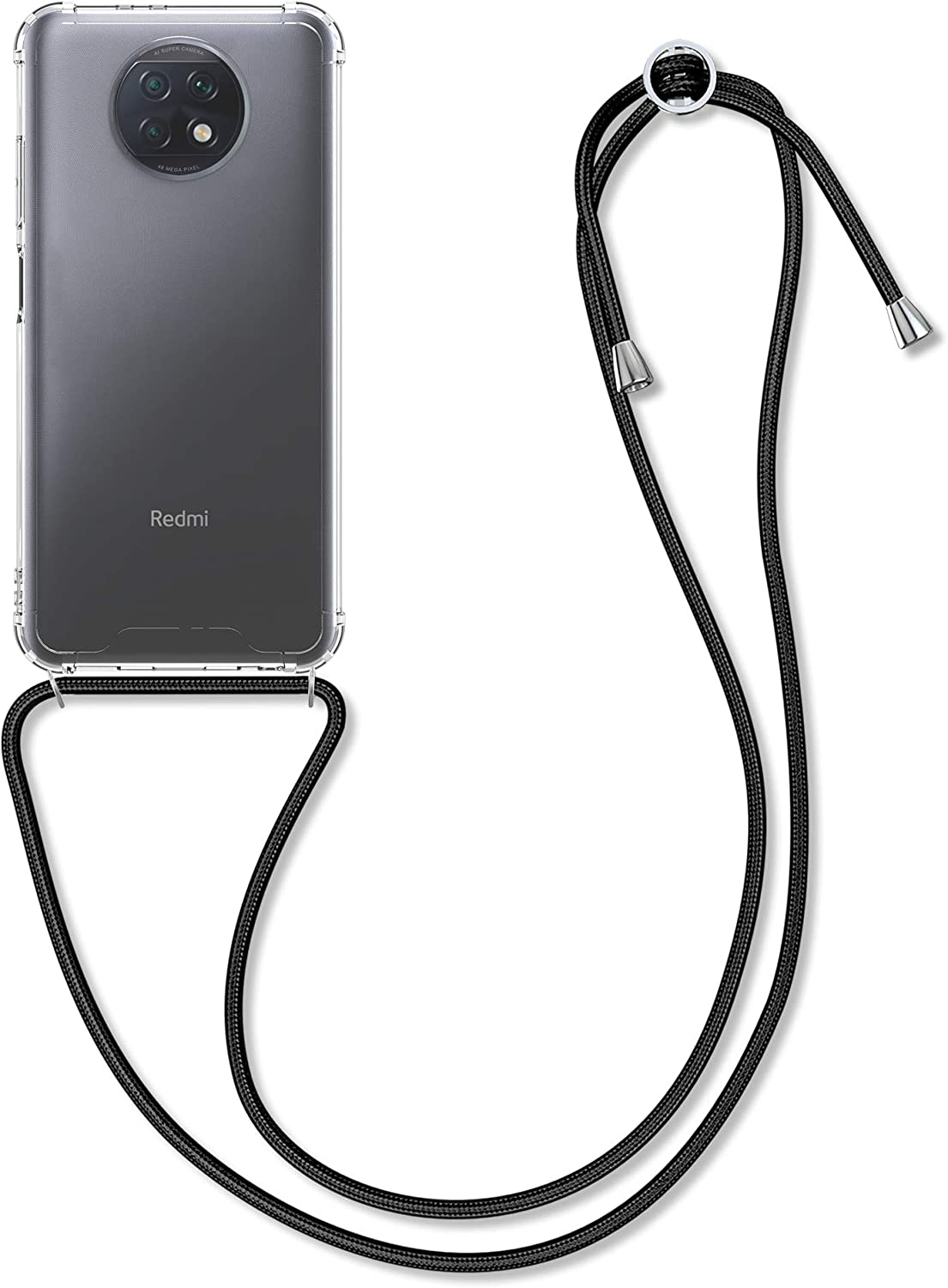 kwmobile Crossbody Case Compatible with Xiaomi Redmi Note 9T - Case Clear TPU Phone Cover w/Lanyard Cord Strap - Black/Transparent