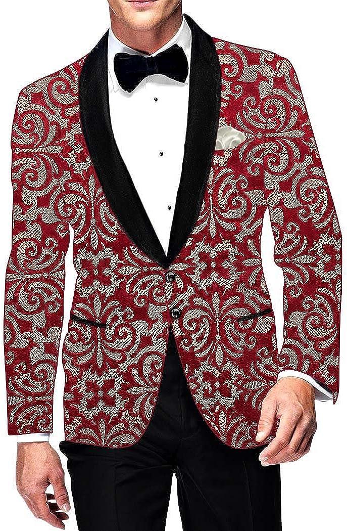INMONARCH Crimson Red Mens Velvet VB194R52 52 Suit Cheap mail order specialty store Jacket shipfree Blazer