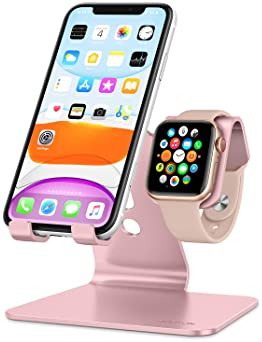 Apple Watch Stand, OMOTON 2 in 1 Universal Desktop Stand Holder for iPhone and Apple Watch Series 6/5/4/3/2/1 and App...