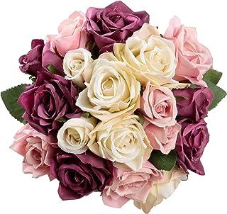 Famibay Rosen Künstliche Blumen 2 Blumenstrauß Blumenschmuck für Haus Gefälschte Blumen Braut Hochzeitsblumenstrauß 18 Rosen Köpfe für Haus GartenLila mit Champagner