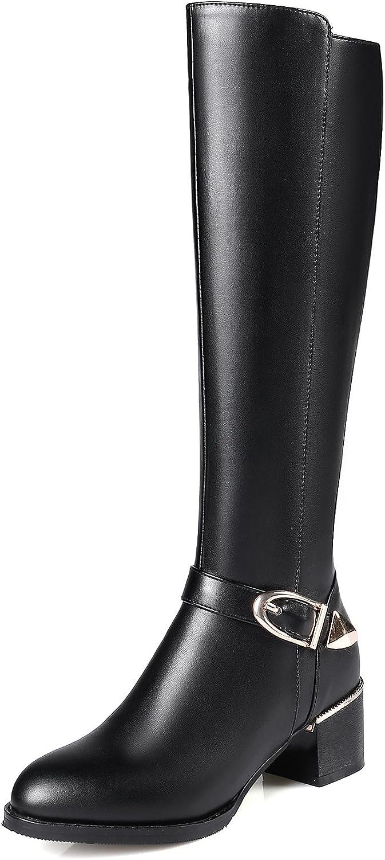 Mina damer Zip Pointed Toe Square Heel Genuine läder läder läder Sexy kvinnor stövlar Buckle Strap High klackar svart Knee höga stövlar  fantastiska färgvägar