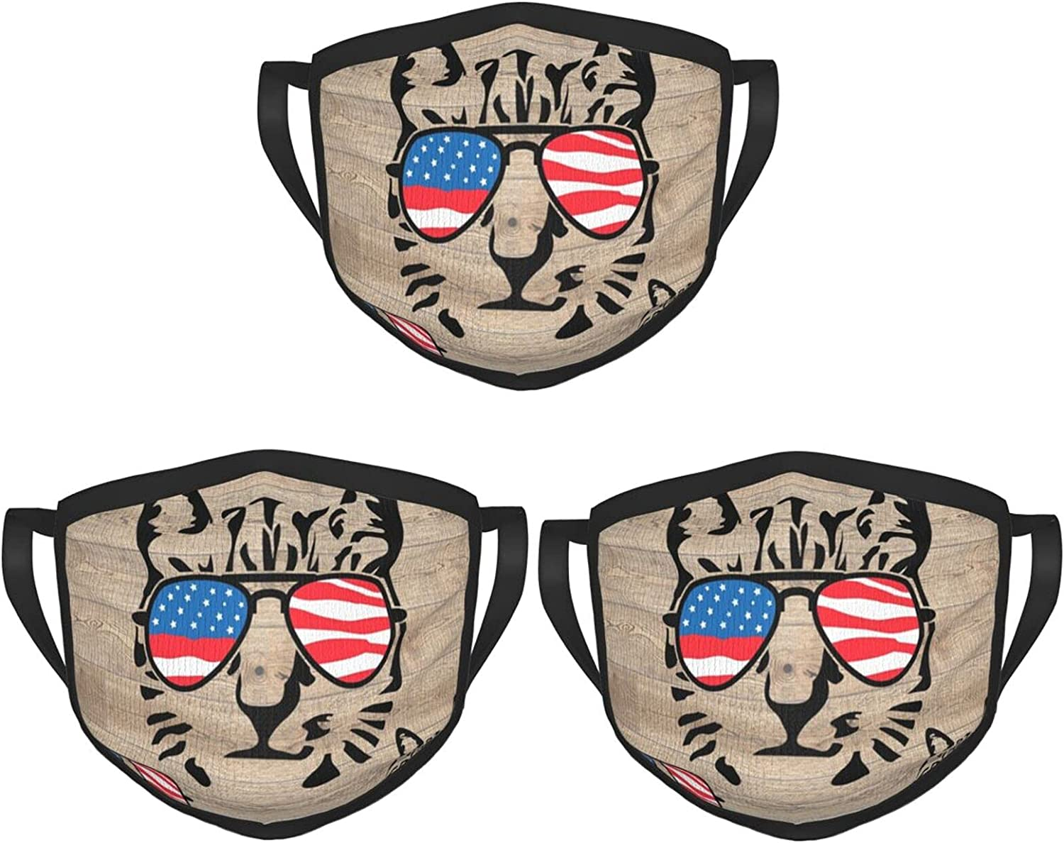 Balaclava Earmuffs Wood Cat Flag Sunglasses Animal With Glasses Face Mouth Cover Mask Reusable Washable Scarf Towel Cover Headwrap