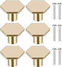 6 stuks massief messing deurgrepen, zeshoekige gouden lade knoppen kast knoppen, duurzame koperen keuken handgrepen, deurk...