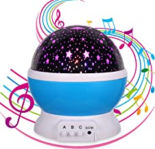 Lullaby Night Light,Music Star Projector,Night Light for Kids,12 Songs,Kids Gifts for 1 2 3 4 5 Years Old,Christmas Gift for 1-15 Years Old (Music&Star-Blue)