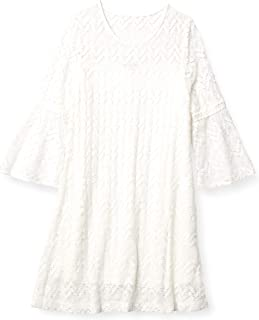 Sandra Darren Women's 1 Pc 3/4 Bell Sleeve Crochect Lace A-line Dress