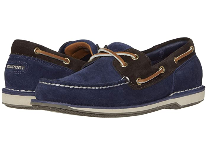 Rockport  Ports of Call Perth (Navy/Bitter Chocolate Suede) Mens Lace up casual Shoes