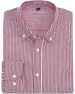 Camisas Manga Larga Hombre,Camisa De Manga Larga De Algodón A La Moda Estampado De Rayas Rojas Ropa Informal De Negocios B...