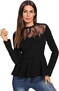 Women's Lace Mesh Round Neck Pleated Elegant Slim Fit Peplum Top Shirt Blouse