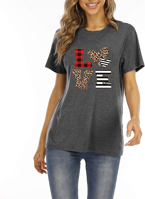 Women Love Heart Valentine Day T Shirt Cute Glitter Heart Graphic Tees Short Sleeve Love Heart Printed Tops Shirts