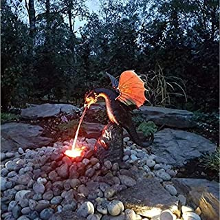 Statue/Fountain Fire Dragon Patinated Bronze Fine Cast Solid Bronze Water Feature Sculpture, Bronze Dragon Color Fountain ...