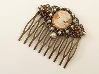 Peineta camafeo en bronce marrón estilo barroco
