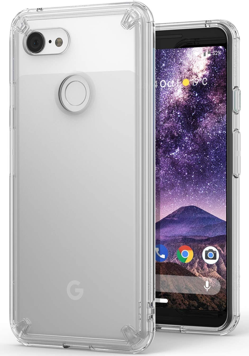 Ringke Fusion Designed for Google Pixel 3 Case Clear Transparent PC Back TPU Bumper Raised Bezels Scratch Protection Natural Form Cover for Pixel 3 - Clear