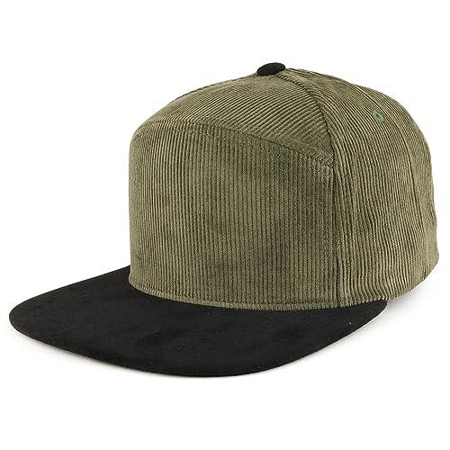 Trendy Apparel Shop Plain Corduroy Textured Suede Flat Bill Snapback Cap e08acee3fb7