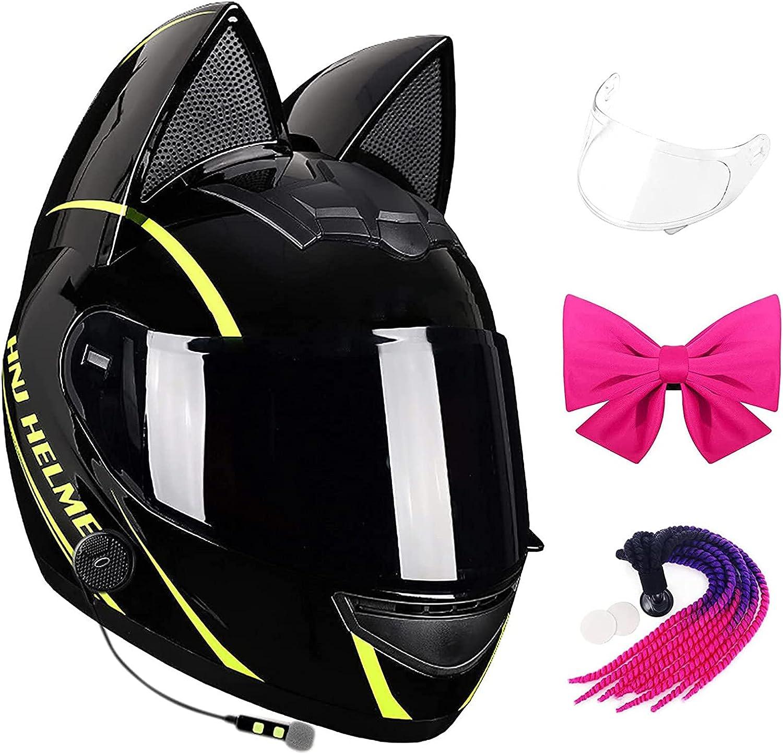 Casco integral para motocicleta con oreja de gato negro, auriculares bluetooth + lente transparente + lazo + scooter de carreras de pelo trenzado, casco anticolisión ATV certificado por DOT unisex