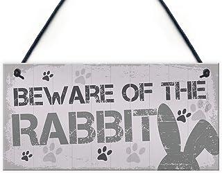 Losea Beware Rabbit Home Door Funny Hutch Accessories Pets 5 x 10 Inch Hanging Sign, Wall Art, Decorative Wood Sign Home Decor