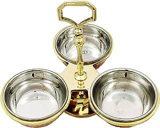 PARIJAT HANDICRAFT Indian Serve Ware Pickle Condiment Holder Four Serving Bowls