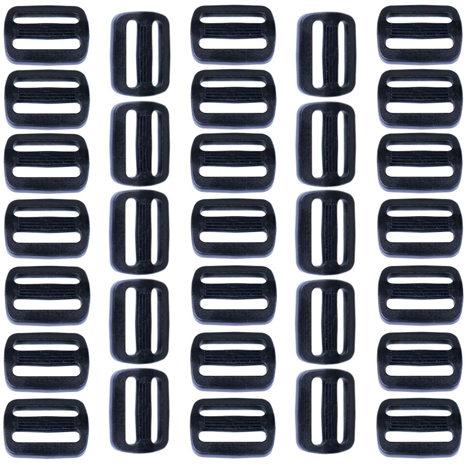 Paracord Planet 100 Pack 1-Inch Plastic Tri-Glide Slides for Backpacks and Bags