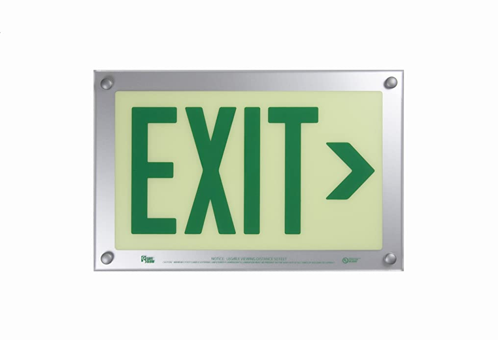 交換可能発明する筋肉のSafe Glow Photoluminescent Exit Sign, EXIT with Right Arrow Symbol, 14-5/8 Length x 9-1/2 Width x 1/4 Height, Ceiling Mount (Pack of 1) by Safe Glow
