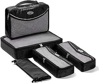 مكعبات تغليف للسفر - 5 قطع من منظمات الأمتعة للسفر مع حقيبة غسيل وحقيبة أحذية (أسود)