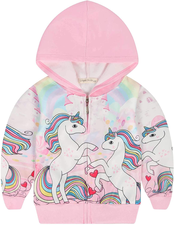 Girls Zip Hoodie Unicorn Sweatshirt Kid Coat Cartoon Jacket Outwear Sweatshirts with Pocket Birthday Gift