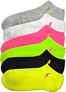 (ポロ ラルフローレン) POLO RALPH LAUREN レディース 靴下 ( 6足セット ) コットンクッションソール アンクル ソックス ネオンイエロー アソート [23cm-26.5cm] [727000pk2brigh] [並行輸入品]