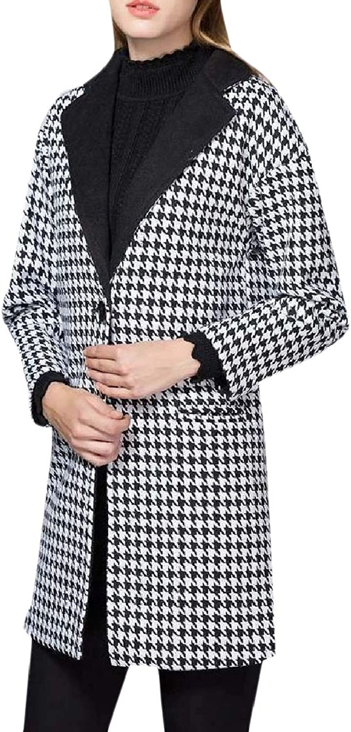 TaoNice Womens Houndstooth Mid Long Classic Merino One Button Woolen Coat