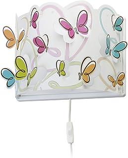 Dalber Lámpara Aplique Pared infantil Butterfly Mariposas Multicolor, 60 W