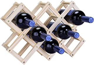 CRUODA Foldable Wooden Wine Bottle Rack, Wine Bottle Holder Storage Slots, Wine Storage Space Saver