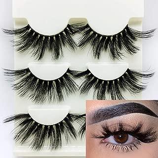 3D Mink Hair False Eyelashes 25mm Dramatic Fake Eye Lashes Criss-cross Wispy Fluffy Handmade Eye Makeup Tools 3Pairs (Style 1)