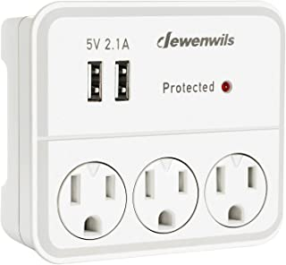 DEWENWILS Multi-Plug outlet wall adapter with 2 USB Charging Ports and Phone Holder, Surge Protector 3 Outlet Wall Adapter for Home/Travel/GFCI Use, UL Listed, White