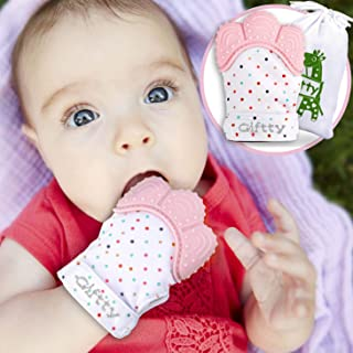 Baby Teething Mitten by Giftty, Self Soothing Teether & Teething Pain Relief Toy, Prevent Scratches Glove Stay on Babys Hand, for 0-6 Months Baby Girl (1 Mitten - Pink)