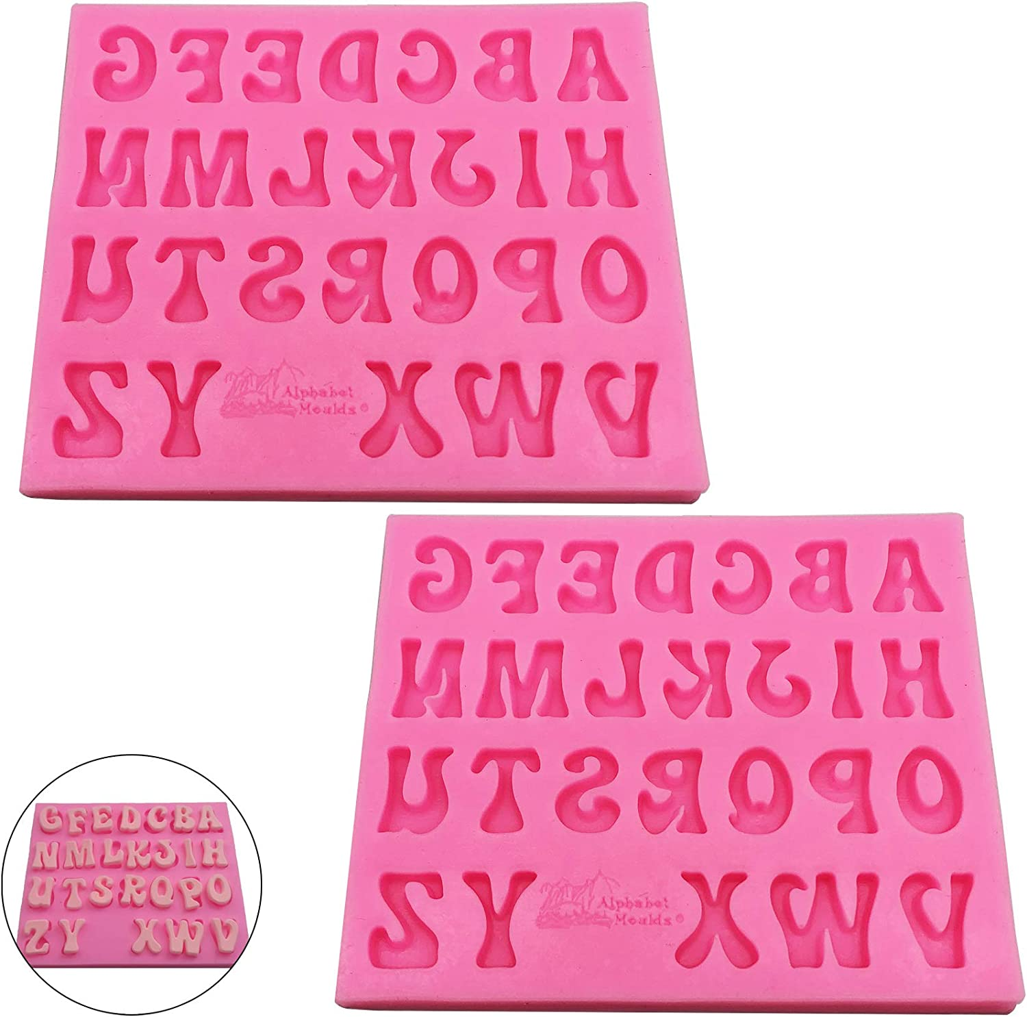 Kukiwhy 2 Pcs Alphabet Silicone Mold, Pink 26 Letters Silicone Mold DIY Mold Food-grade Silicone Making Tool for DIY Handmade Decoration