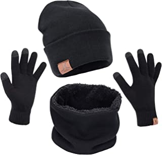 Maylisacc 1/3 Pcs Knit Beanie Hat Scarf and Glove Set for Men and Women, Winter Caps Neck Warmer with Touchscreen Gloves