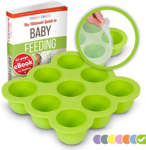 KIDDO FEEDO Baby Food Storage Container and Freezer Tray with Silicone Clip-On Lid - 9x2.5oz Easy-Out Portions - Free...