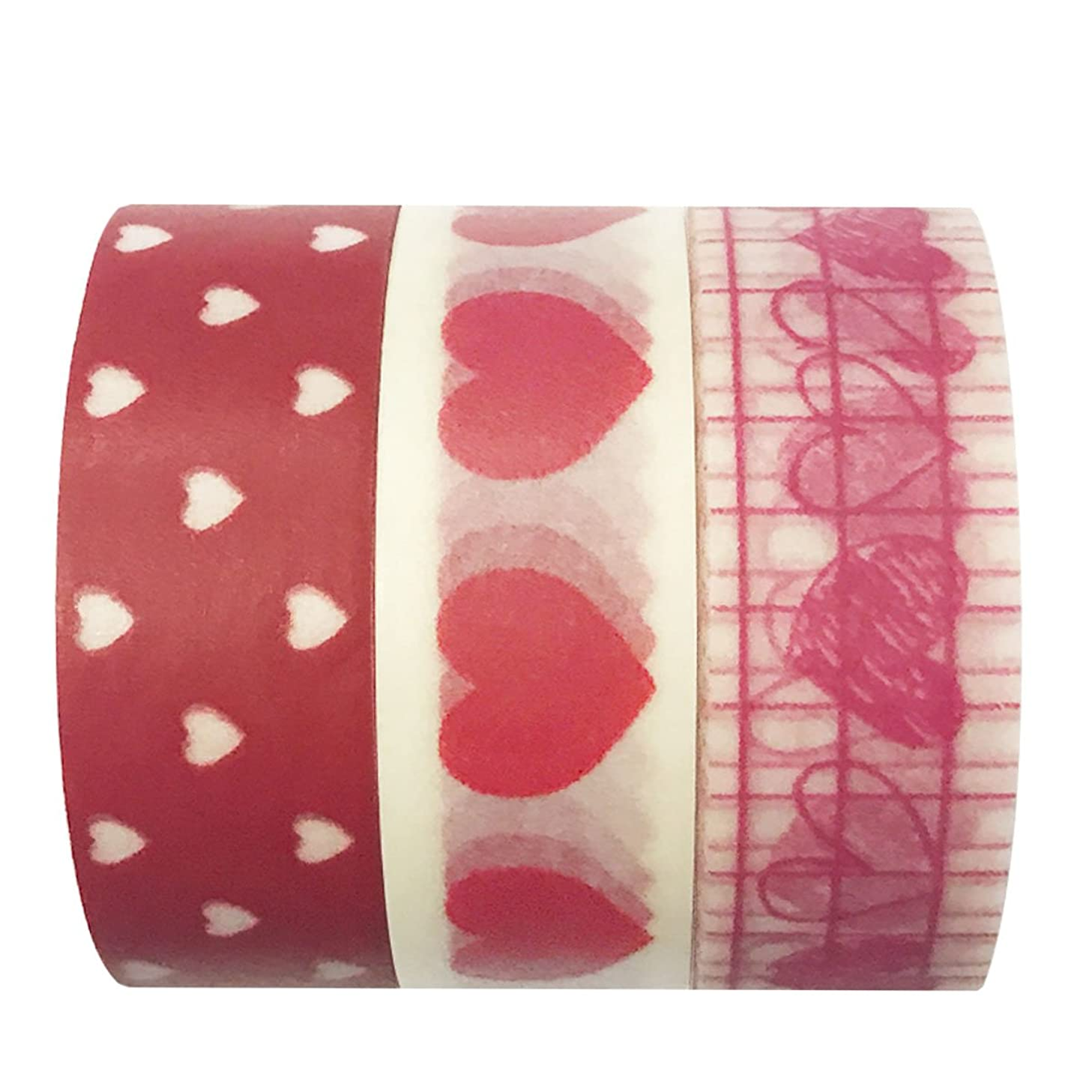 Wrapables Sweet Hearts Washi Masking Tape, 10M by 15mm, Set of 3