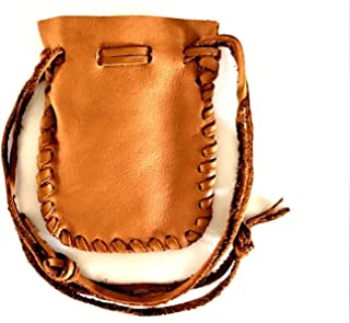 Leather Drawstring Medicine Pouch-Native American Pouch Saddle Brown-#2-3 1/2