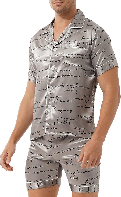 FEESHOW Men's Satin Silky Sleepwear Pajamas Set Button-Down T-shirt with Shorts Loungewear