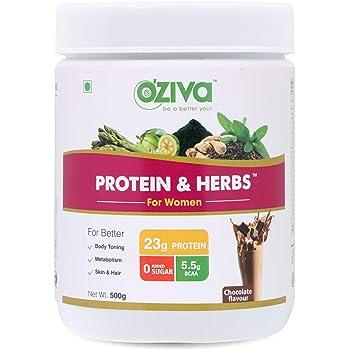 OZiva Protein & Herbs, Women, (Natural Protein Powder with Ayurvedic Herbs & Multivitamins for Better Metabolism, Skin & Hair) 500g, Chocolate