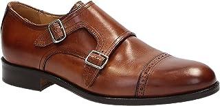 Zapatos de Vestido de Correa Monje Doble Hecho a Mano en Cuero marrón