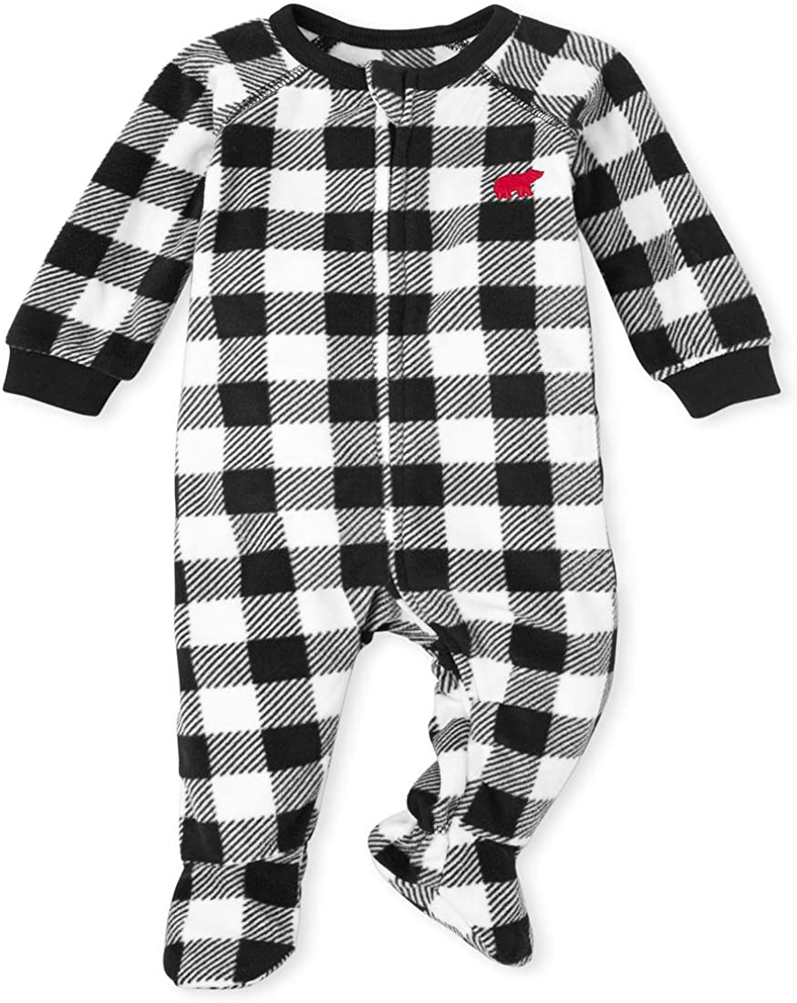 The Children's Place Boys' Unisex Baby and Toddler Matching Family Buffalo Plaid Fleece One Piece Pajamas
