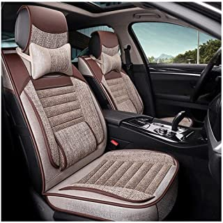 XZWYB GLVV 5 Seat Full Set Universal Compatible Airbags with Comfort Fiber Hemp 11pcs Front and Rear Seat Protector Cushion Breathable Car Seat Covers (Color : Brown) (Color : Beige)