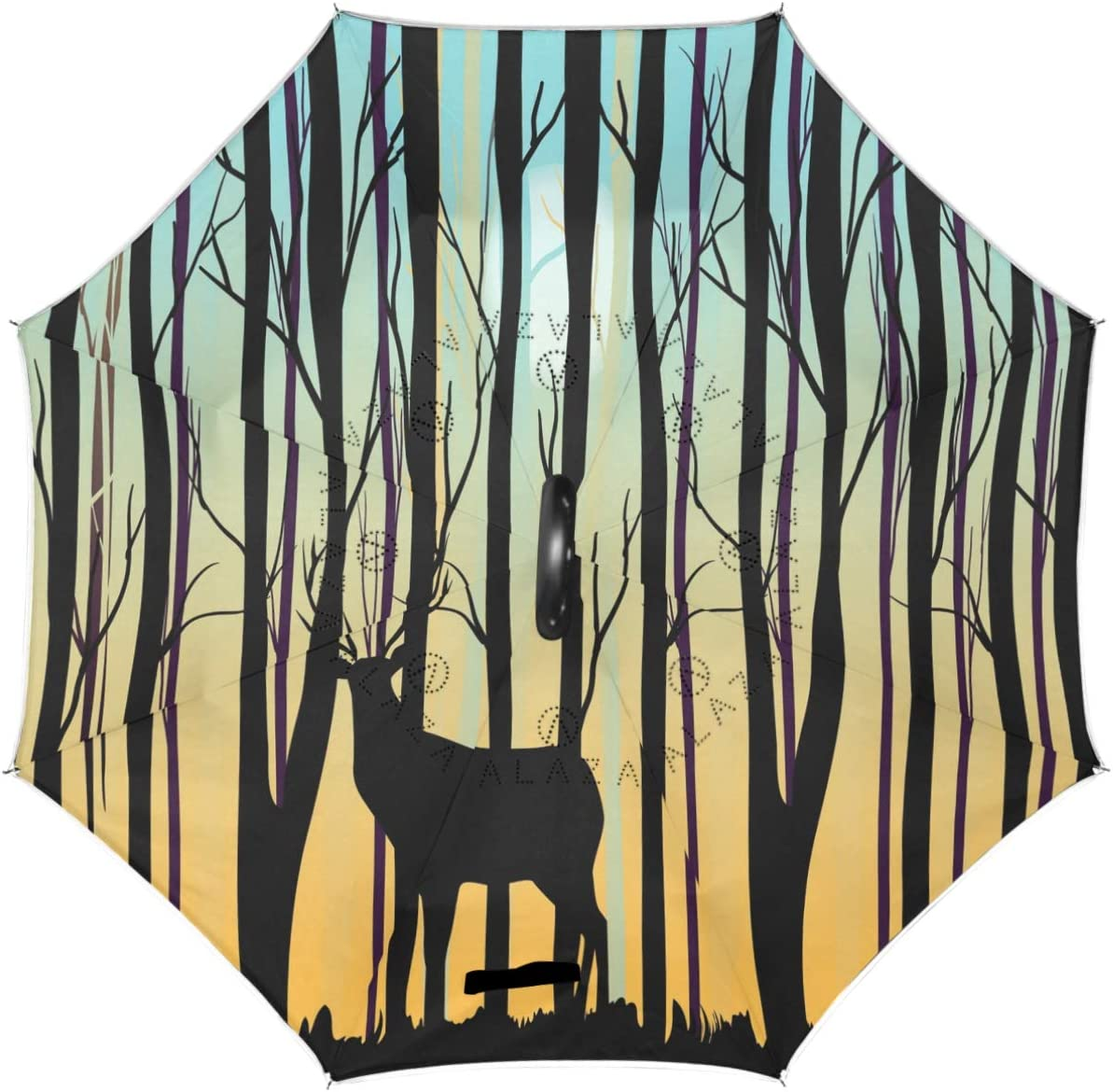 Wamika Deer Oakland Mall Forest Trees Max 75% OFF Reverse Double Inverted Layer Umbrella