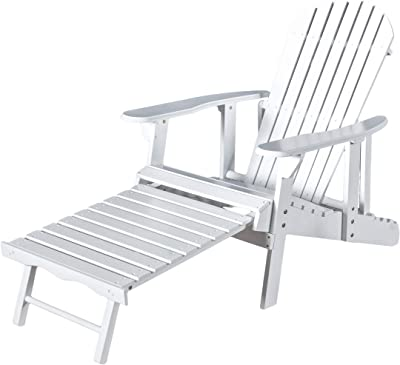 Christopher Knight Home Hayle Reclining Wood Adirondack Chair with Footrest, White